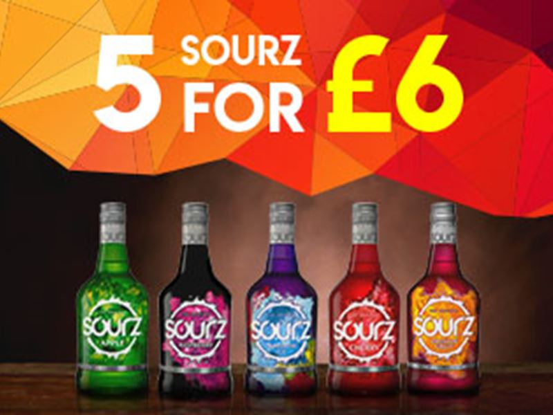 5 Sourz shots for only £6