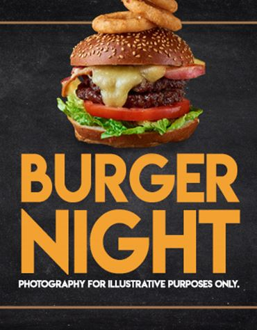 Enjoy a free drink with any burger*
