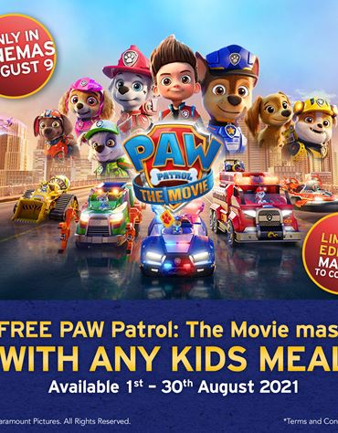 Free Paw Patrol: The Movie mask with any kids meal!